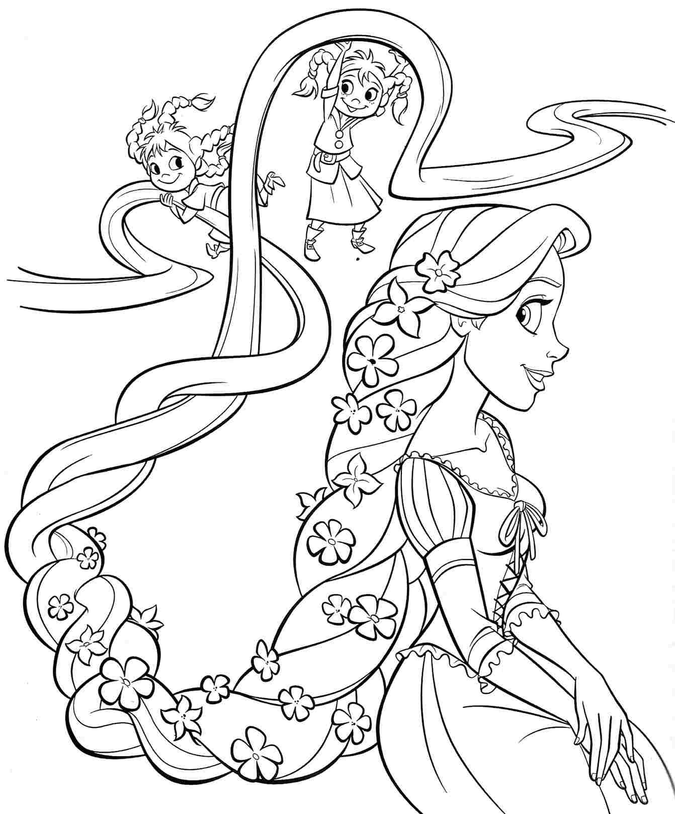 Coloring pictures disney characters - Printable Free Disney Princess Rapunzel Coloring Sheets For Kids