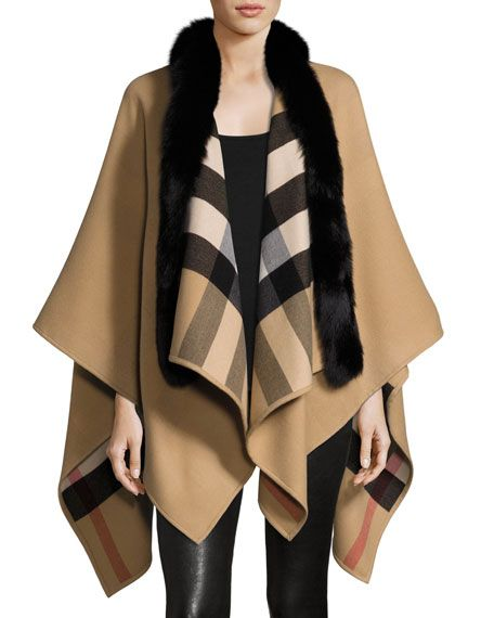 f456d976e069 Solid to Check Wool   Fox Fur Cape Camel