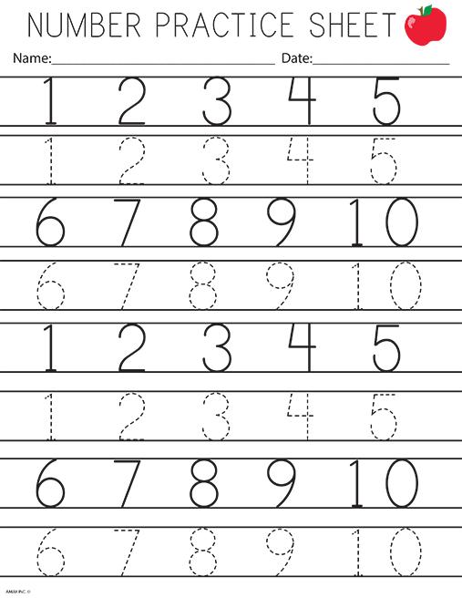 Numbers Practice For Kids Kindergarten Worksheets Printable Kindergarten Worksheets Alphabet Tracing Worksheets
