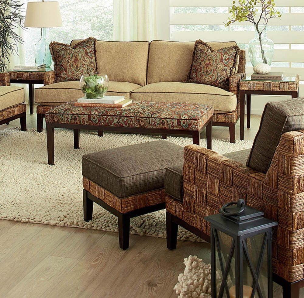 Abaco Island Wood And Abaca Rattan 3 Pc Living Room Set Model 2925 Set Made In The Usa By Braxton Culler Free Shipping American Rattan Furniture Living Room Loft Rattan Furniture Living Room