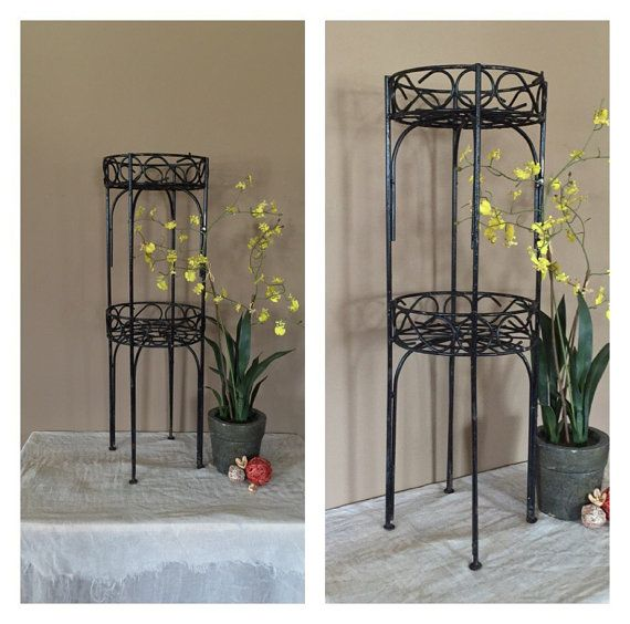 cca24ac05cfb Vintage Rustic Two Tier Plant Stand / Vintage Metal Plant Stand / Indoor Plant  Stand / Outdoor Plant Stand / Plant Stand Metal