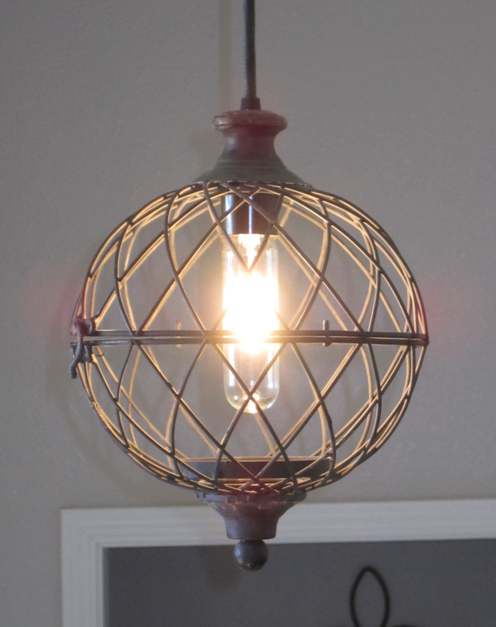 Rustic Metal Globe Pendant Light distressed rustic lighting