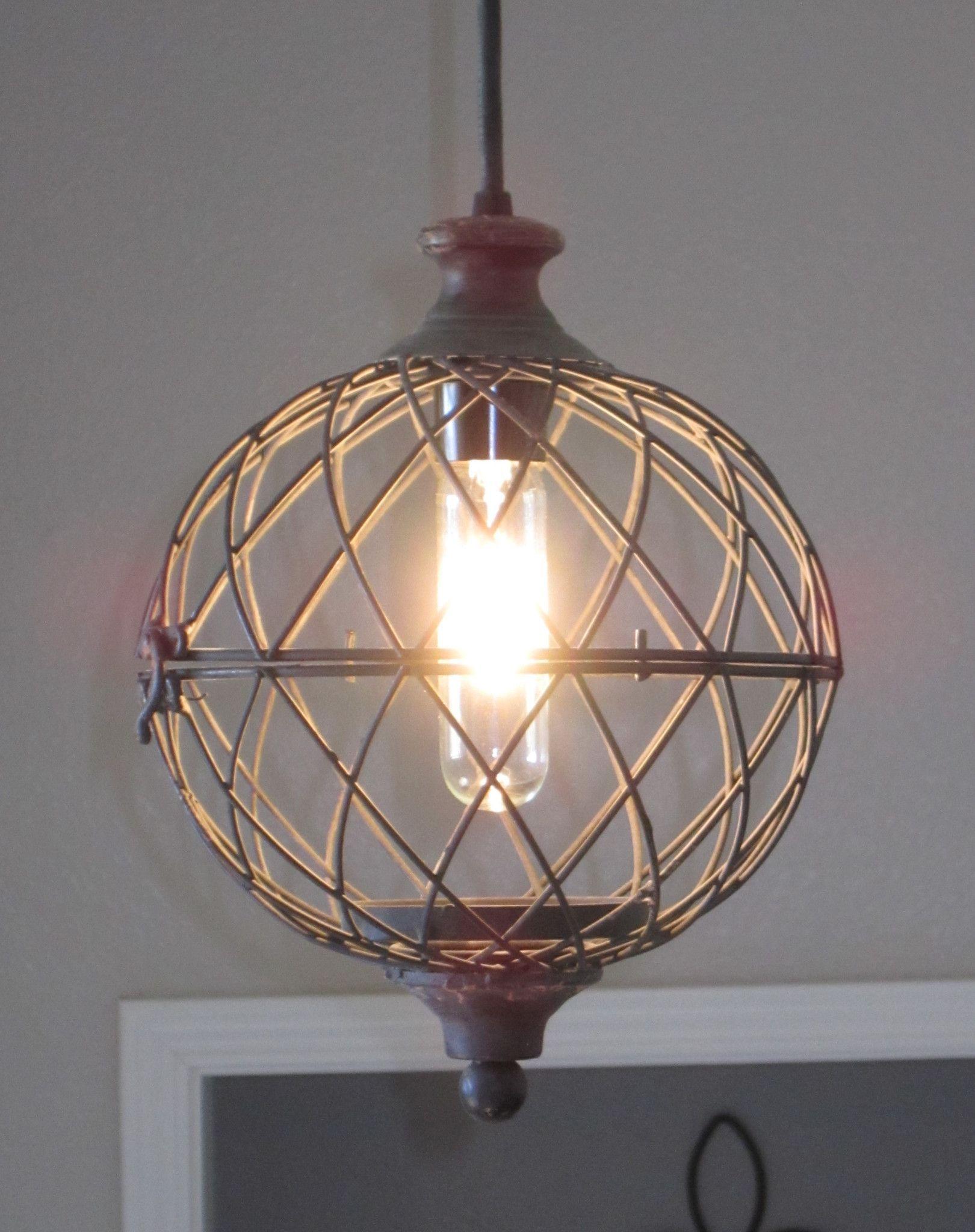 Rustic metal globe pendant light distressed rustic lighting