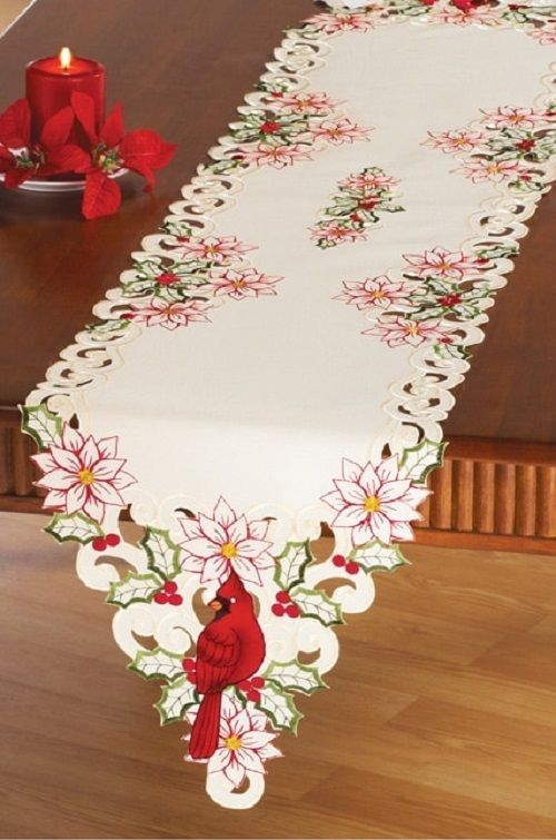 Winter Table Runner Embroidered Christmas Cardinal Linen Holiday Decor Gift New Unbranded Christmas Linen Holiday Table Linens Christmas Decorations