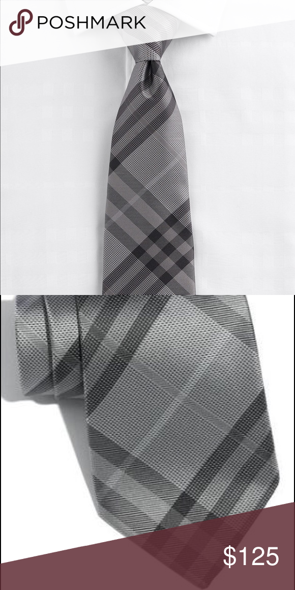 Burberry London Woven Grey Silk Neck Tie Mercury Burberry London 'Regent' Woven Grey Check Silk Neck Tie Italy Mercury. I have two ties. Both are brand new. One of them does not have a tag. Burberry Accessories Ties