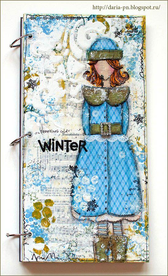 Mixed-media notebook. Size 15*30 cm. She Art. Made by Daria Pneva.