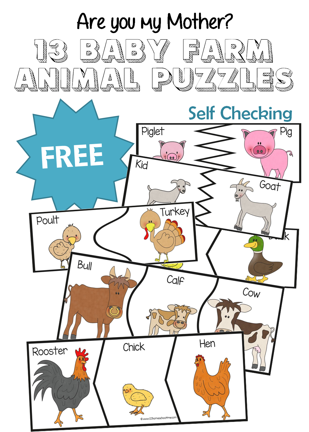 Are You My Mother? 13 Baby Farm Animal Puzzles Baby farm