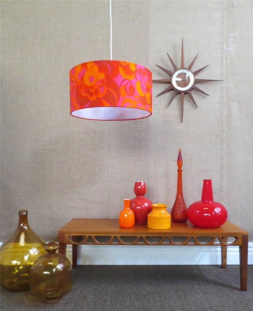 Pink orange s drum shade pendant light fitting suit retro mid