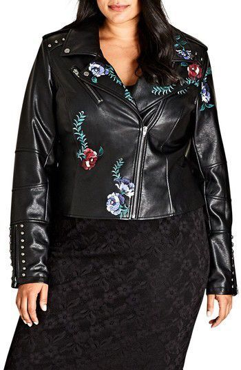 5c1338e5905 Plus Size Women s City Chic Embroidered Rose Faux Leather Biker Jacket