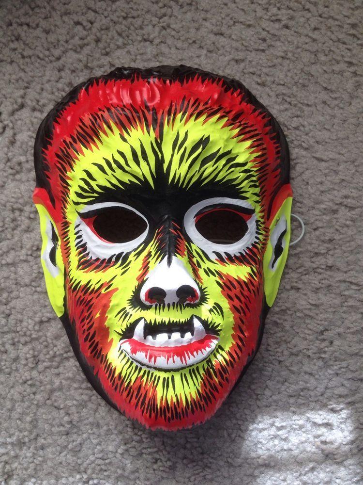Ben Cooper Halloween Masks.Wolf Man Vintage Ben Cooper Mask Halloween 1979 Wolfman Monster Chaney Style Vintage Halloween Costume Vintage Halloween Art Vintage Halloween