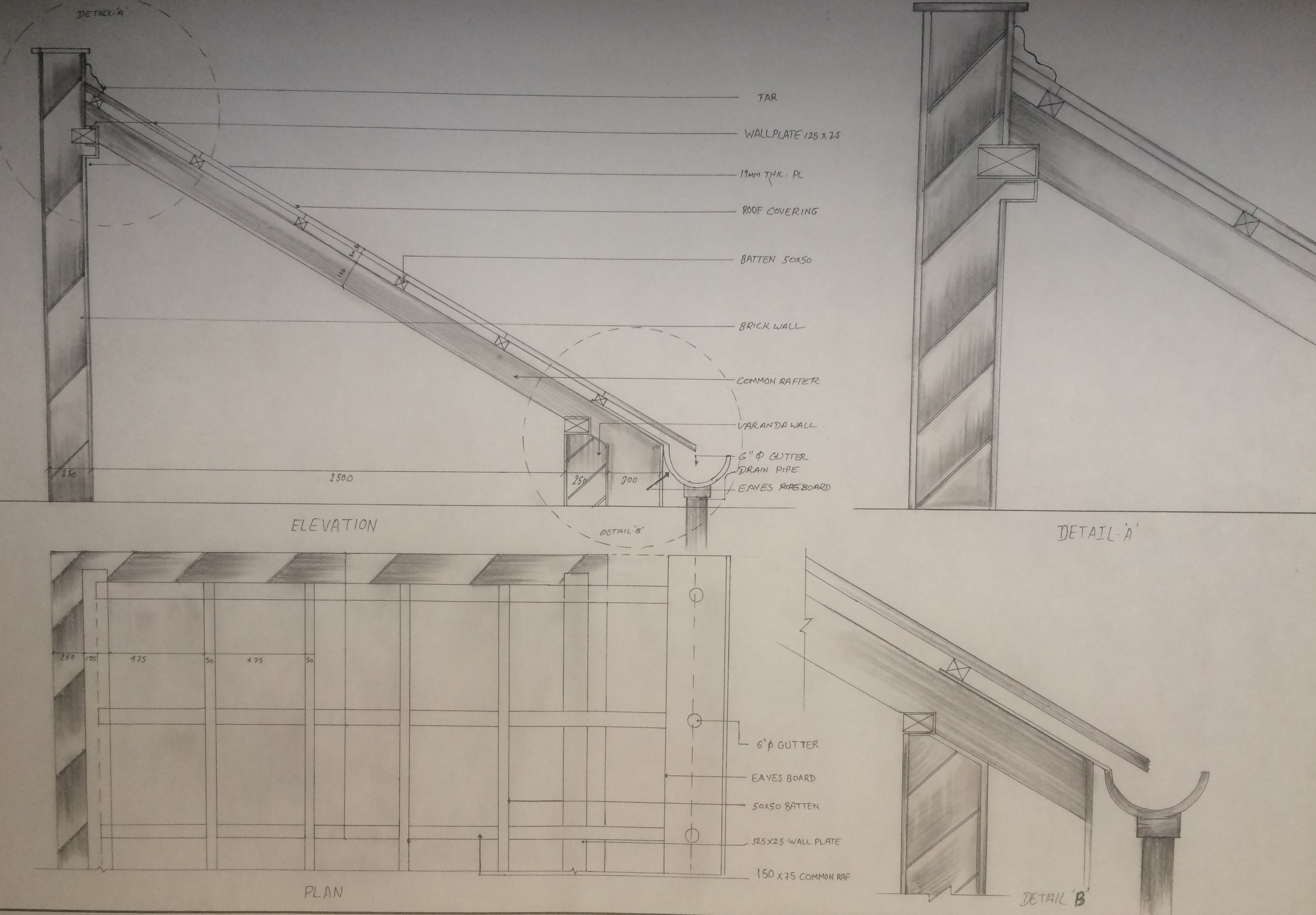Working Drawing Of Lean To Roof Lean To Roof Roof Detail Steel Roofing