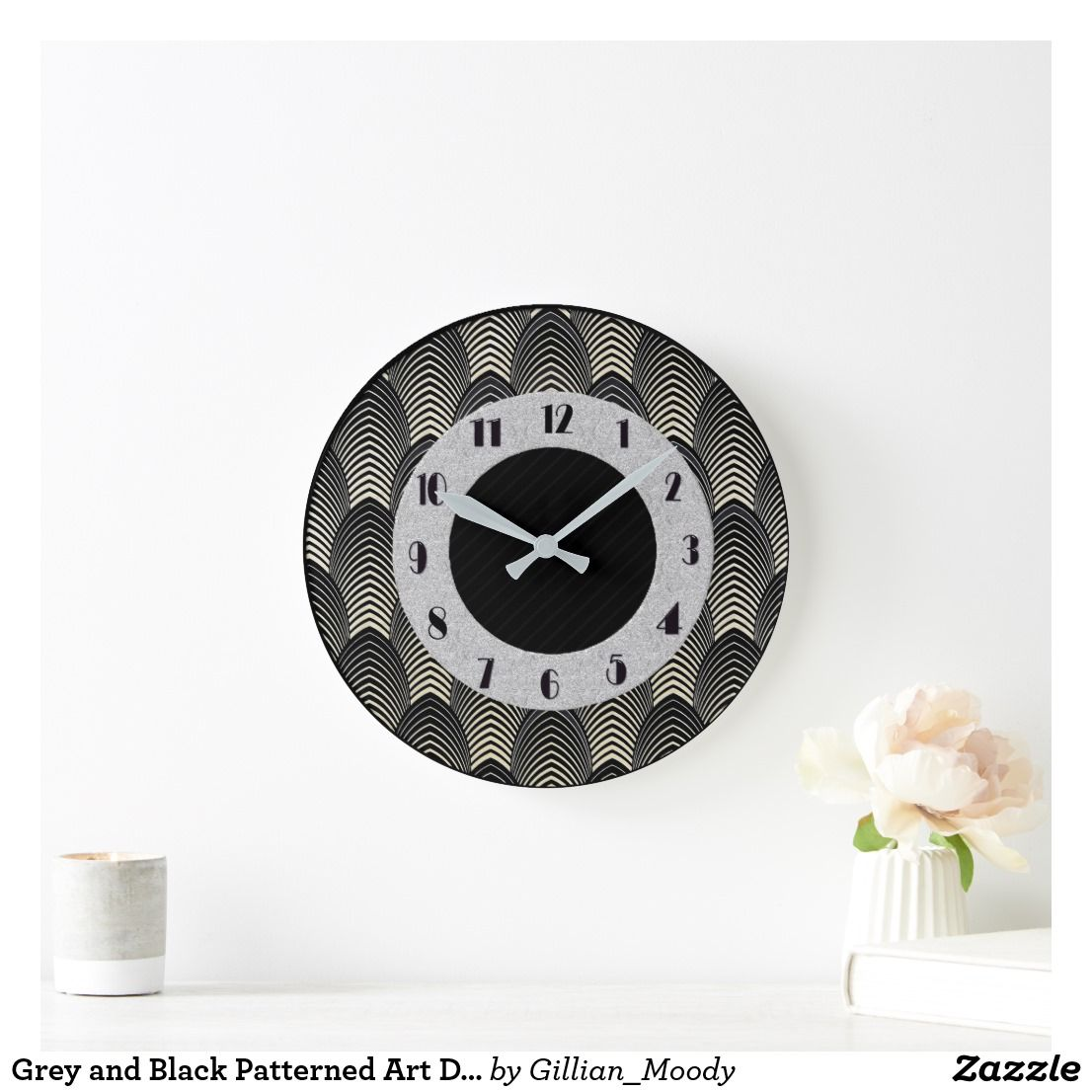 Grey And Black Patterned Art Deco Style Large Clock Clock