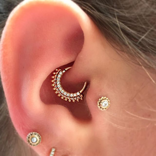 daith ear piercing jewelry a gold auron from bvla in a daith safepiercing 9092