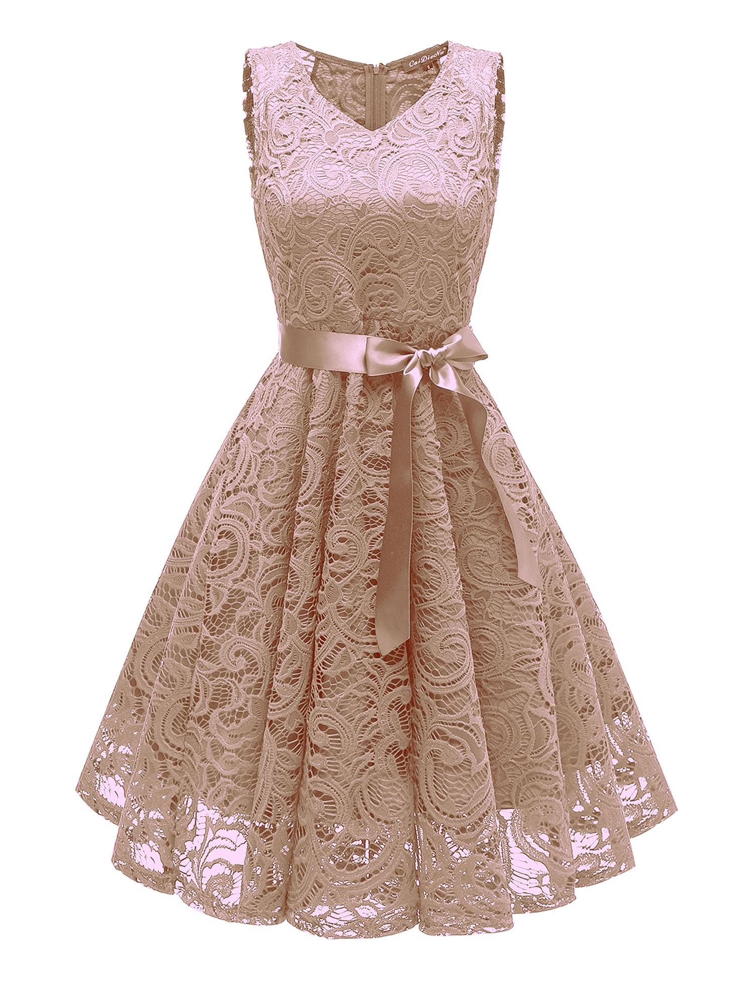 Women/'s V-Neck Vintage Lace Long Evening Cocktail Gown Wedding Bridesmaid Dress