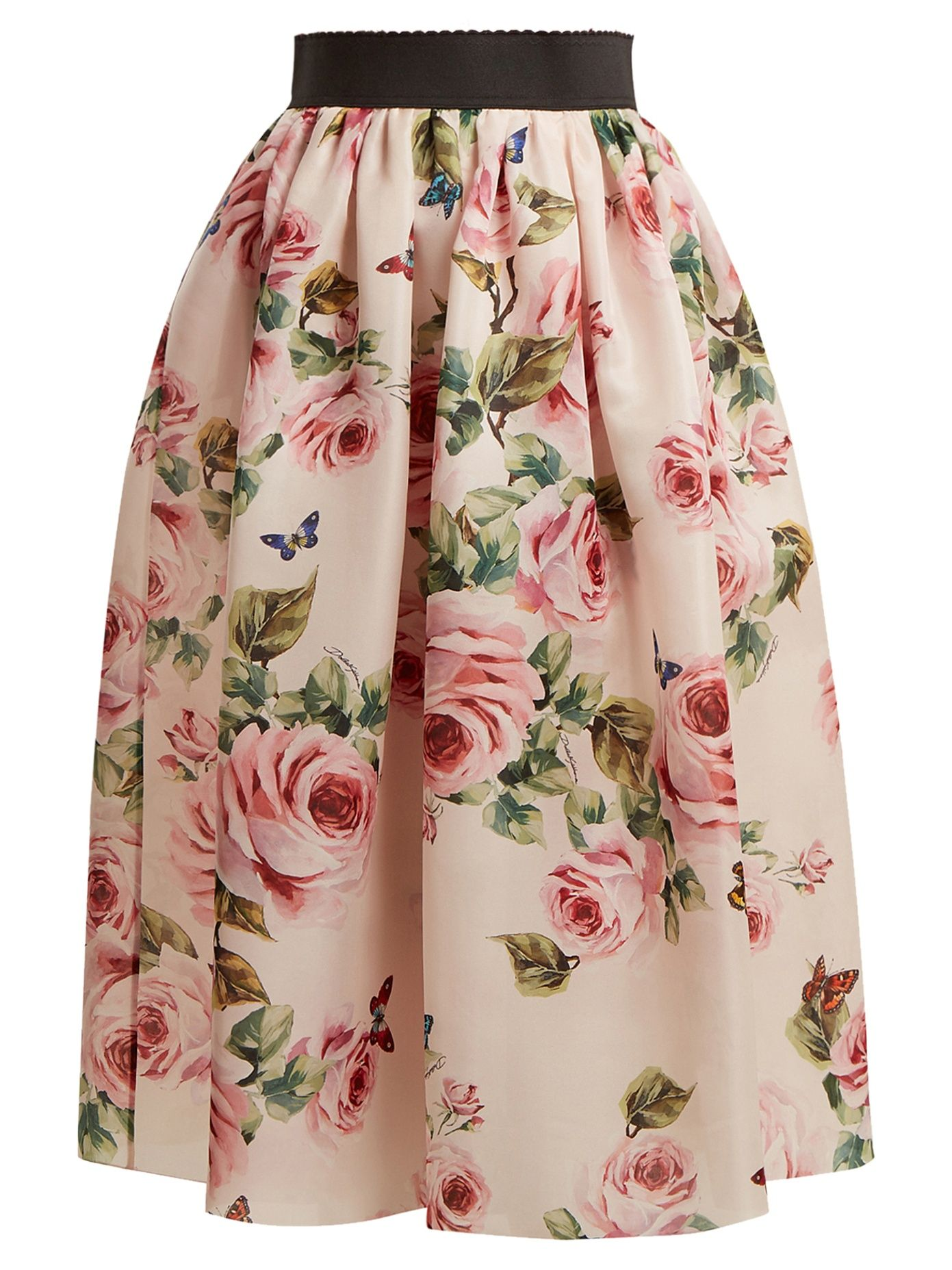 3a785673c576 Click here to buy Dolce & Gabbana Rose and butterfly-print silk-organza  skirt at MATCHESFASHION.COM