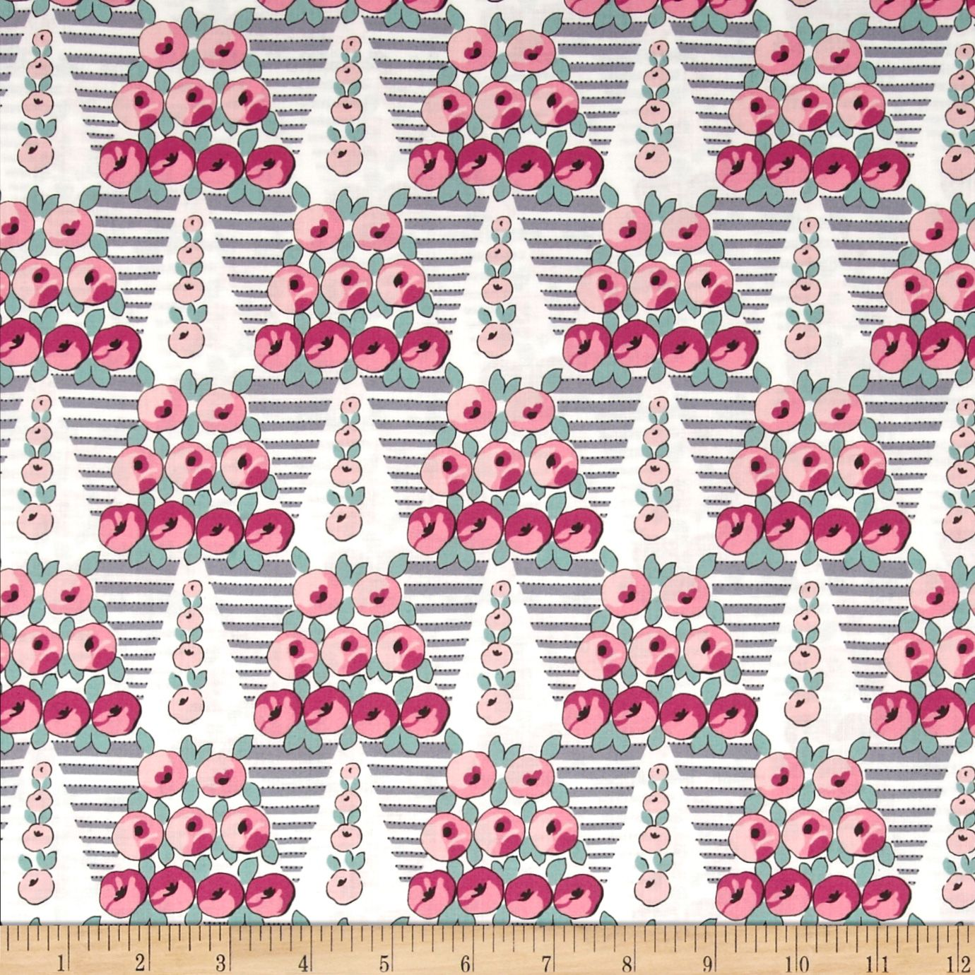 Downton Abbey II Topiary Rose Pink Fabric