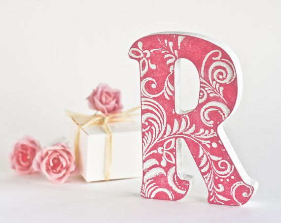 Stand Up Deco Wooden Letters For Nursery Letter R Pink Wedding Etsy Decorative Letters Wooden Letters Wooden Letters Decorated