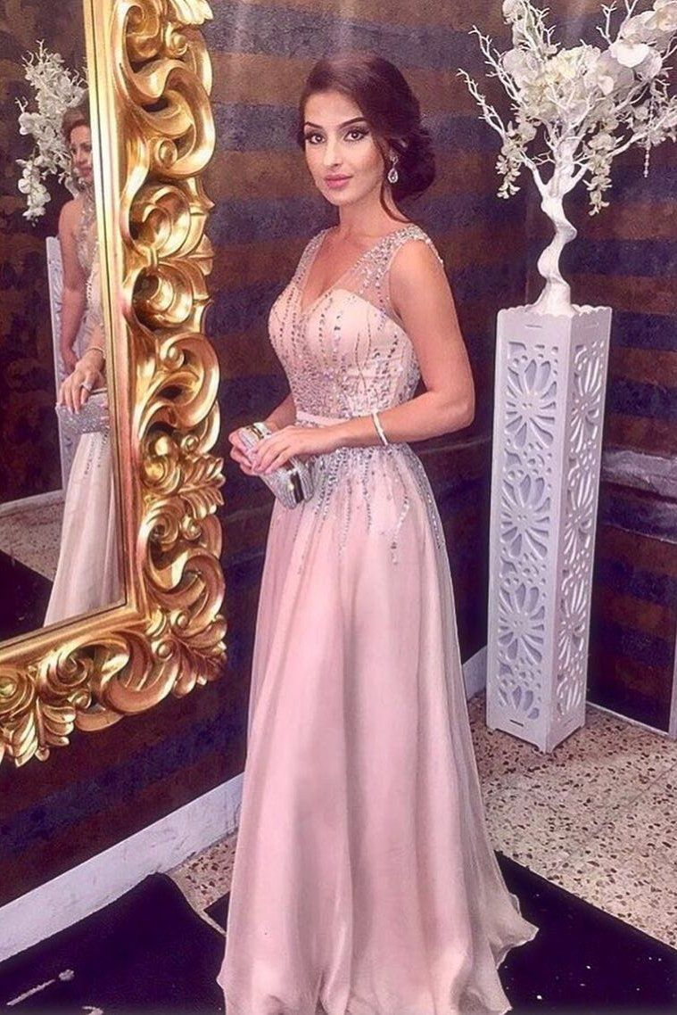 Pink Sparkly Beading V neck A Line Prom Dress,Sleeveless Long Formal ...