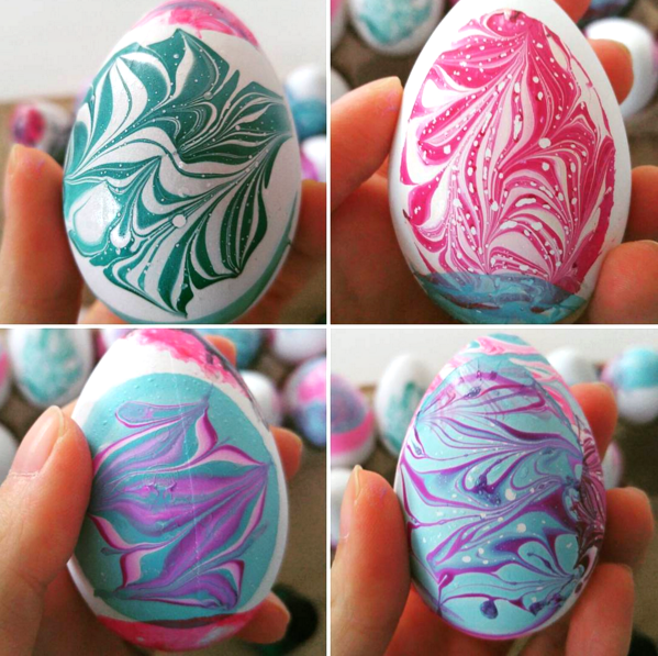 Water marble easter egg decorating nail polish supplies for Easter egg decorating ideas crafts