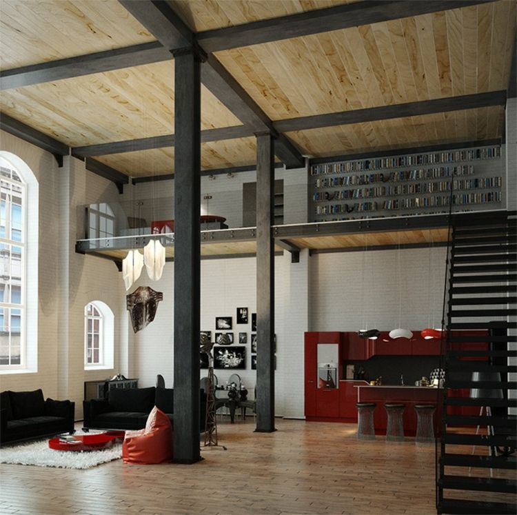 Der industrielle Stil wird unter anderem durch die Stahlträger ...