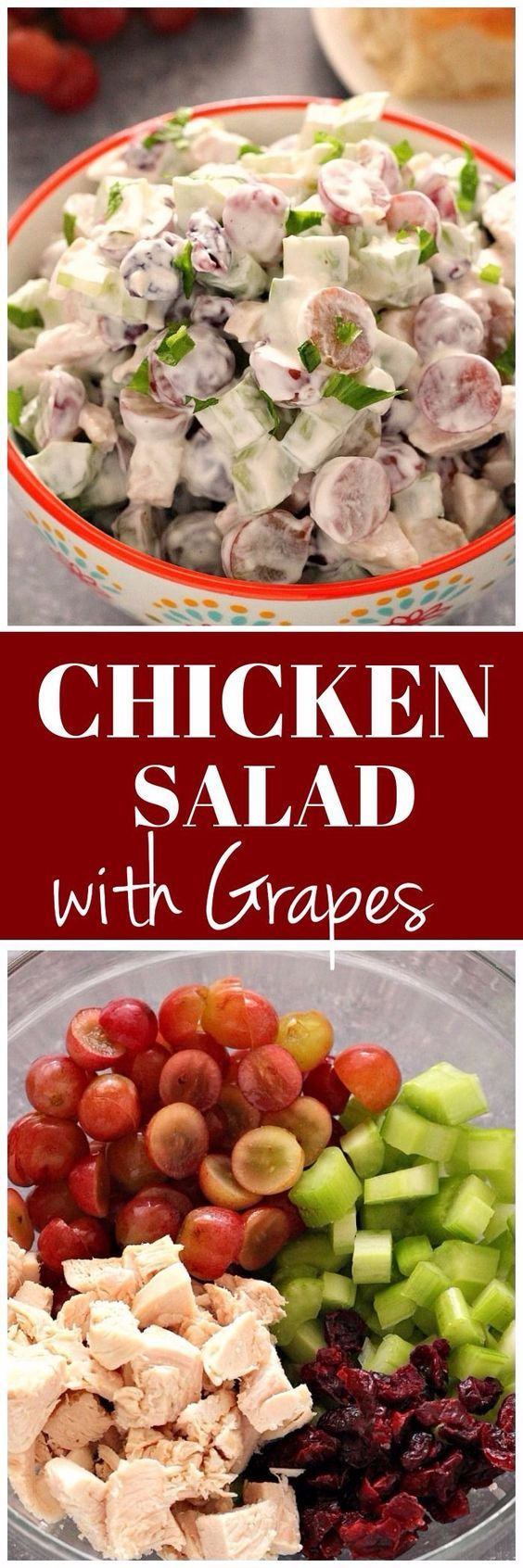 Easy Chicken Salad With Grapes Celery And Cranberries Tossed With Light Sour Cream Dressing Perfe Easy Chicken Salad Chicken Salad With Grapes Grape Recipes