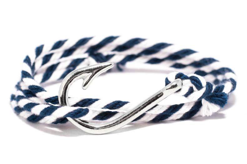 Navy and White Hook Bracelet