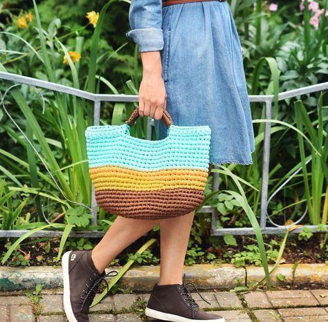 Вязаная сумка, модная цветная сумка, сочетание цветов ...