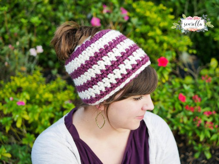 Crochet 1 hour Messy Bun Beanie  Crochet 1 hour Messy Bun Beanie