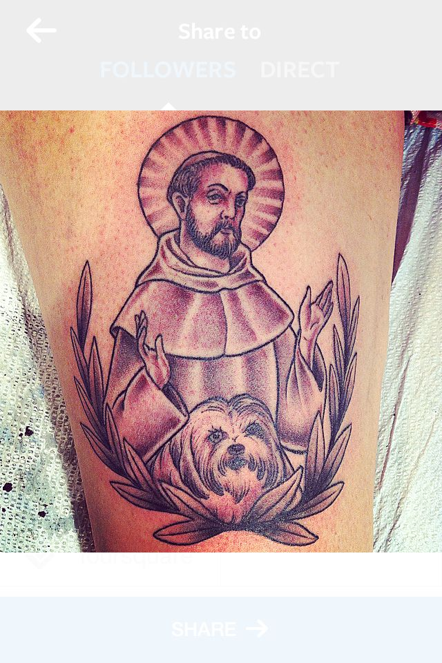 St Francis Tattoo With Pet Dog Black And Gray Dog Memorial Tattoos Tattoos Memorial Tattoos