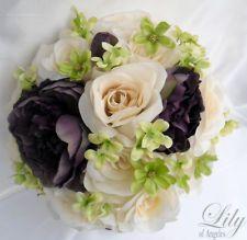 17pcs Wedding Bridal Bouquet Set Decoration Package Flower PLUM EGGPLANT GREEN