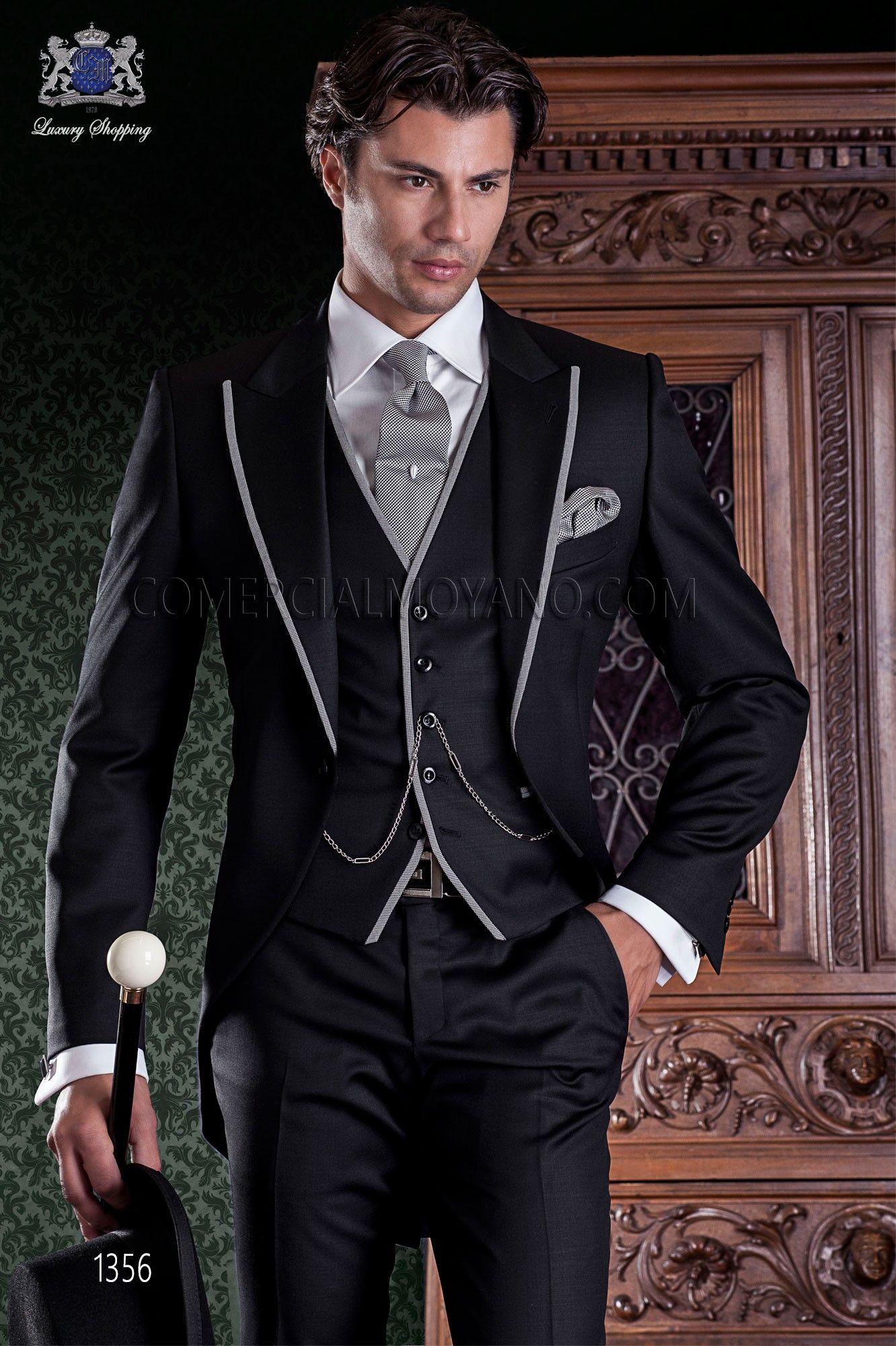 """Chaqué negro de sastrería italiana con elegante corte """"Slim"""", una ..."""