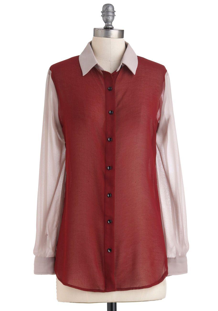 Forte como um Oxford Top - Cream, Red Tan /, botões, manga comprida, Sheer, Colorblocking, Comprimento Médio