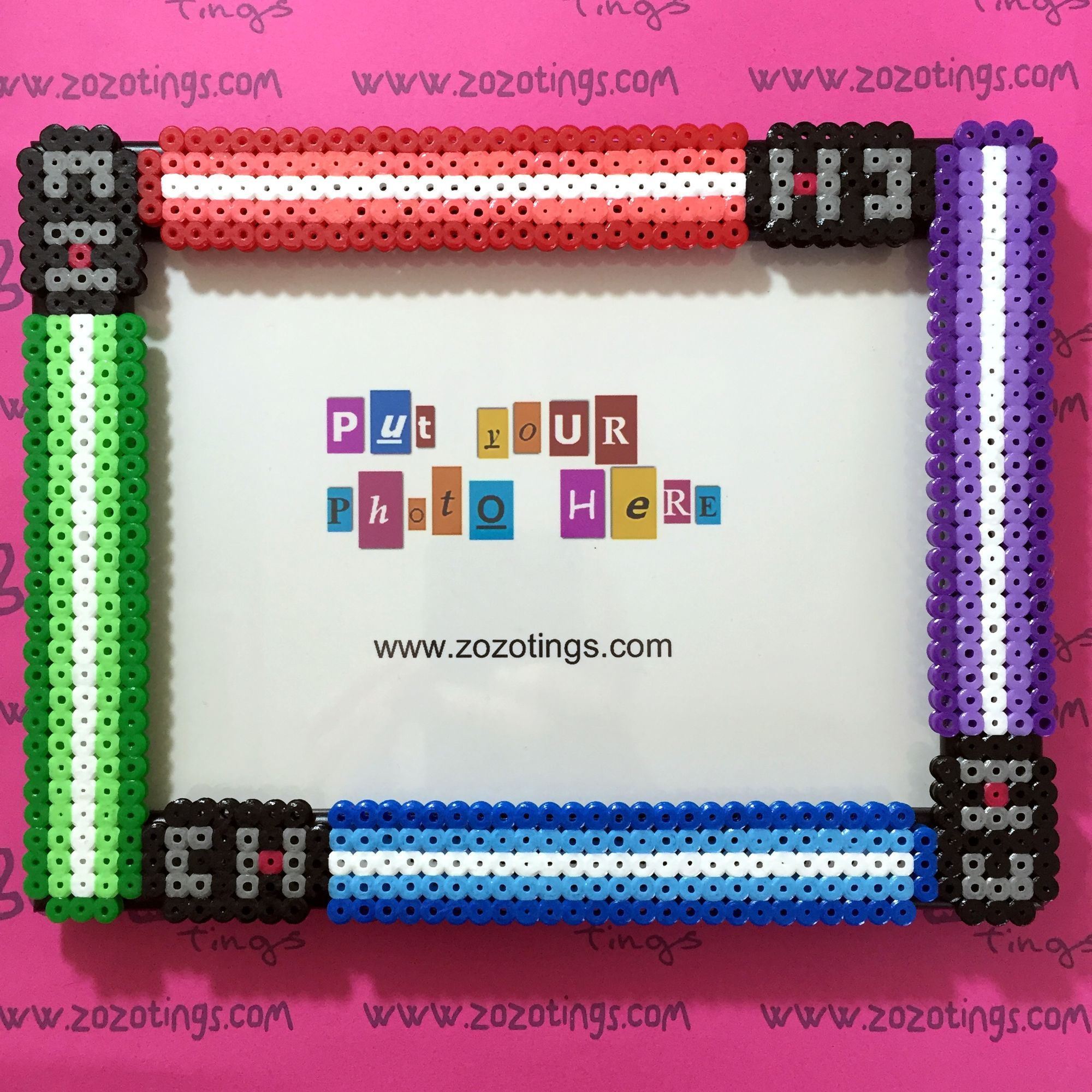 star wars lightsaber photo frame hama beads original design created by zo zo tings