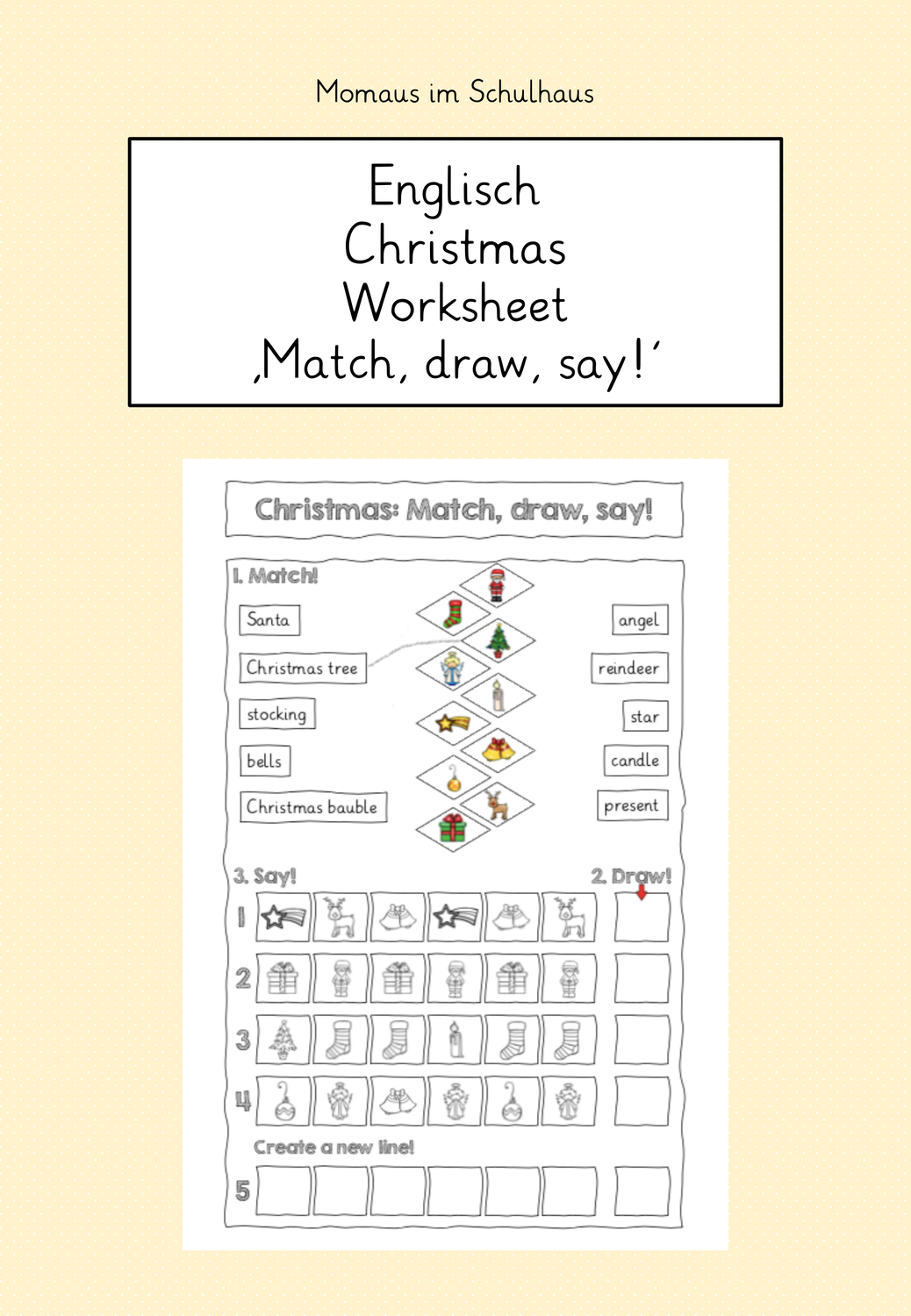 Christmas Worksheet Match Draw Say