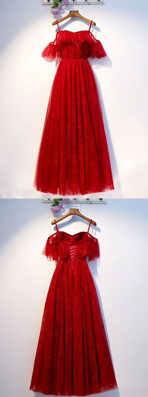 elegante a linie abendkleid brautkleid lang rot tüll spitze