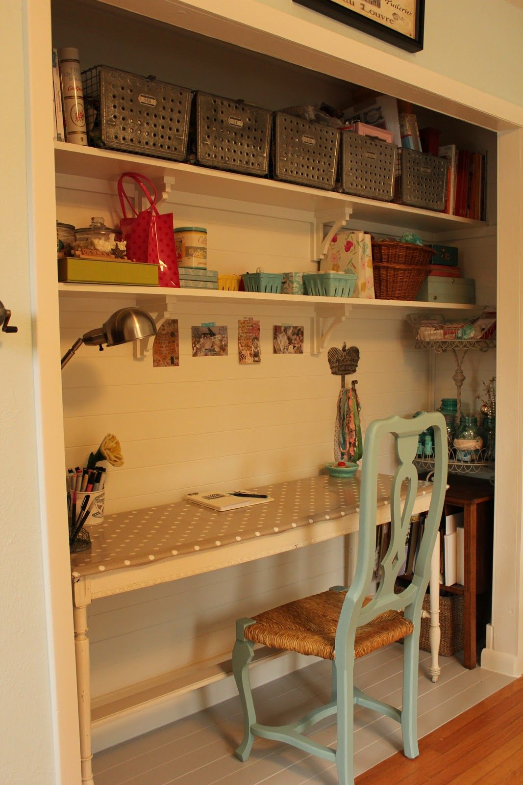 closet turned desk nook work space pinterest desks nooks my sewing closet in my office good storage organization ideas this is supposed to be for a closet office but frankly i d rather convert my office into a