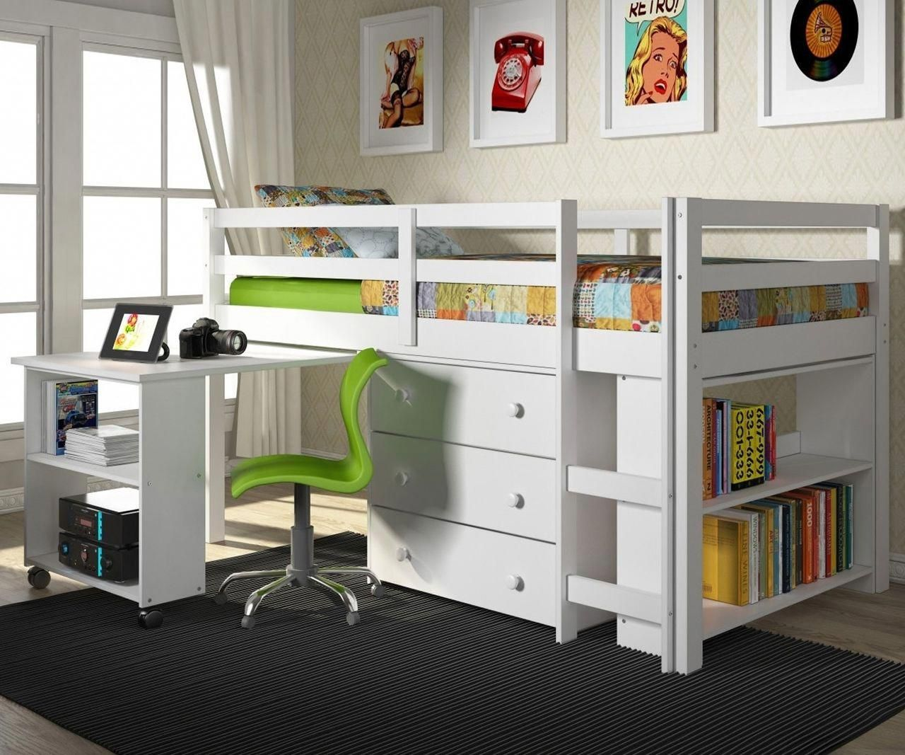 Donco Low Loft Bed with Desk and Storage Twin Size White