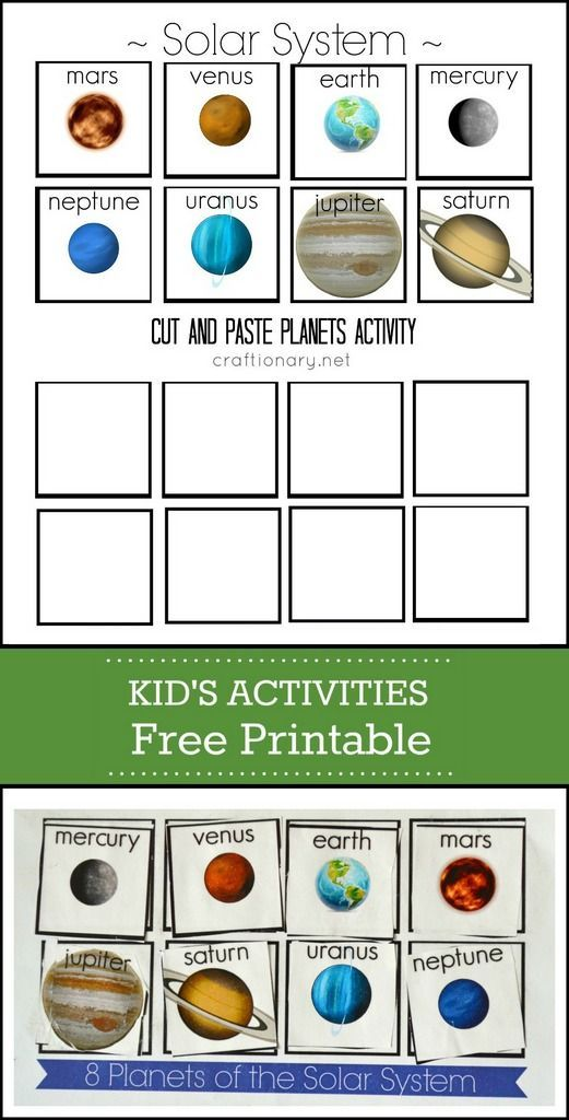 Planets Free Printable ( Solar System Cut and Paste | Unit ...