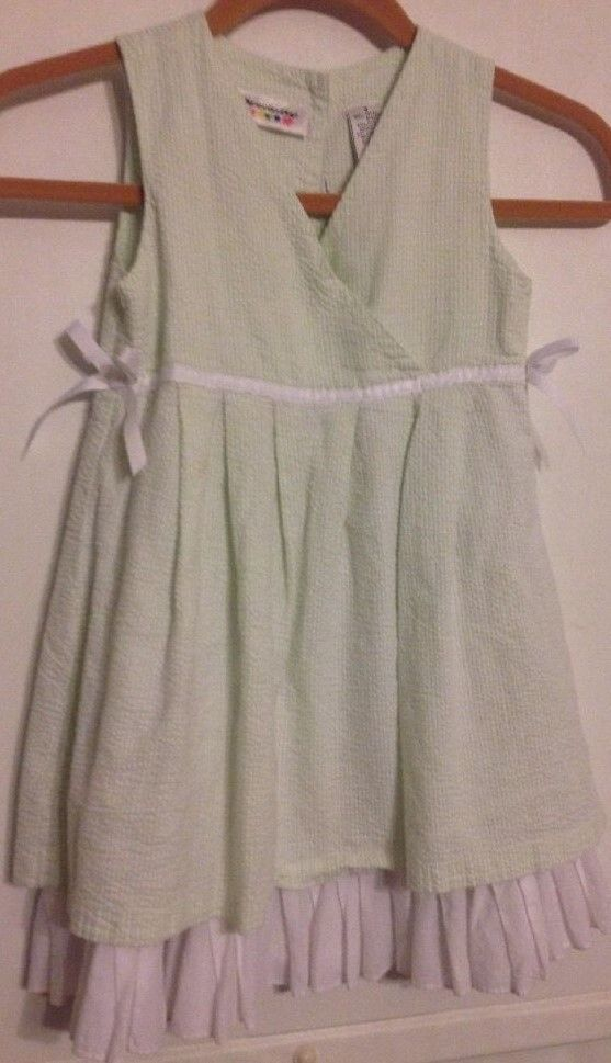 Specialty Girl Size 5 Lime Green & White Fully Lined With White Ribbon Dress  #SpecialtyGirl #ChurchDressyEverydayHolidayPartyWeddingEaster