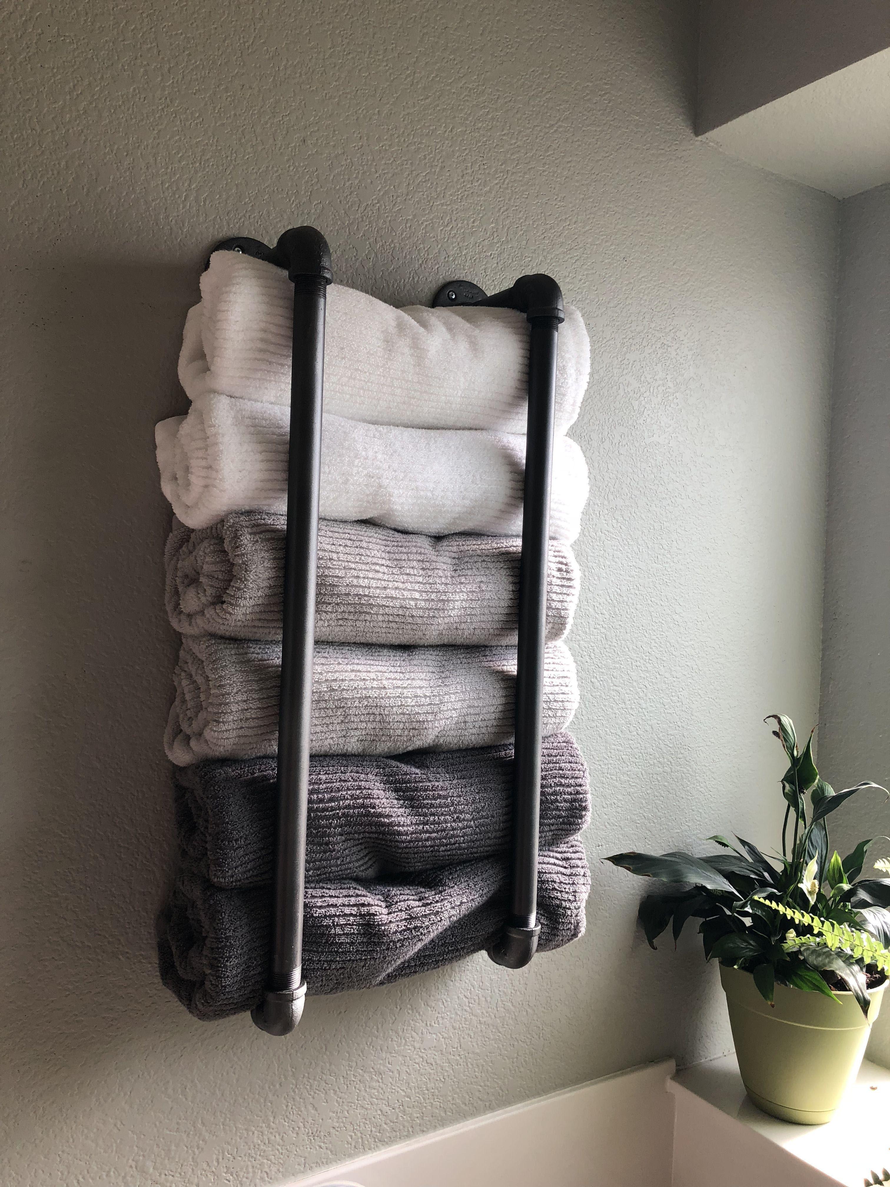 20 Bathroom Towel Rack Ideas Magzhouse, Bathroom Shelves With Towel Bar Ideas