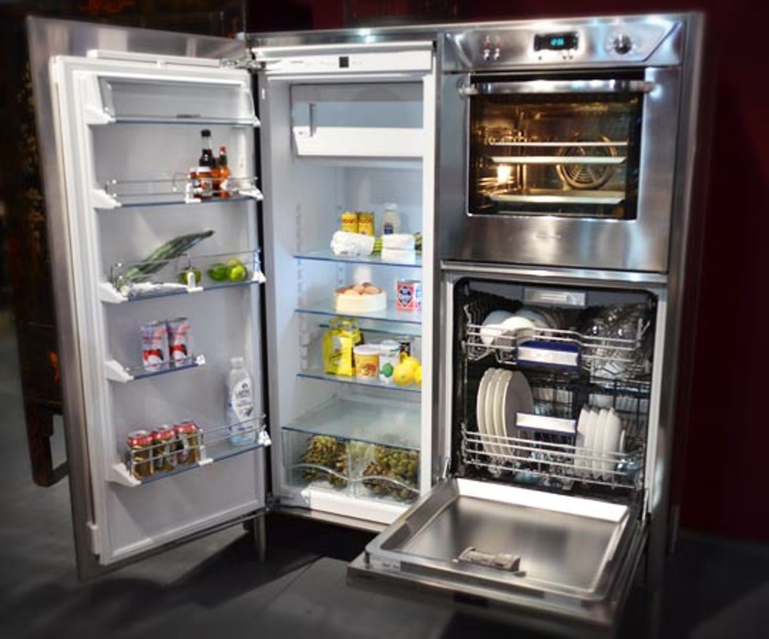 Combination Refrigerator Dishwasher Oven Unit From Alpes Inox Tiny House Appliances Tiny House Living Small Fridges
