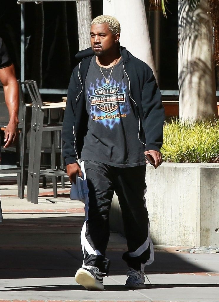 15028165844c Kanye West Steps Out In Harley Davidson T-Shirt And Adidas Yeezy Boost  Sneakers