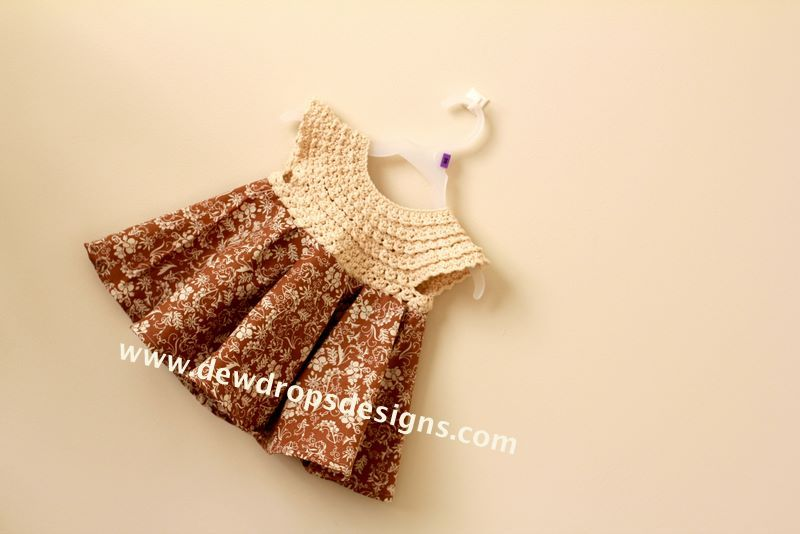 Cute dress with crocheted top