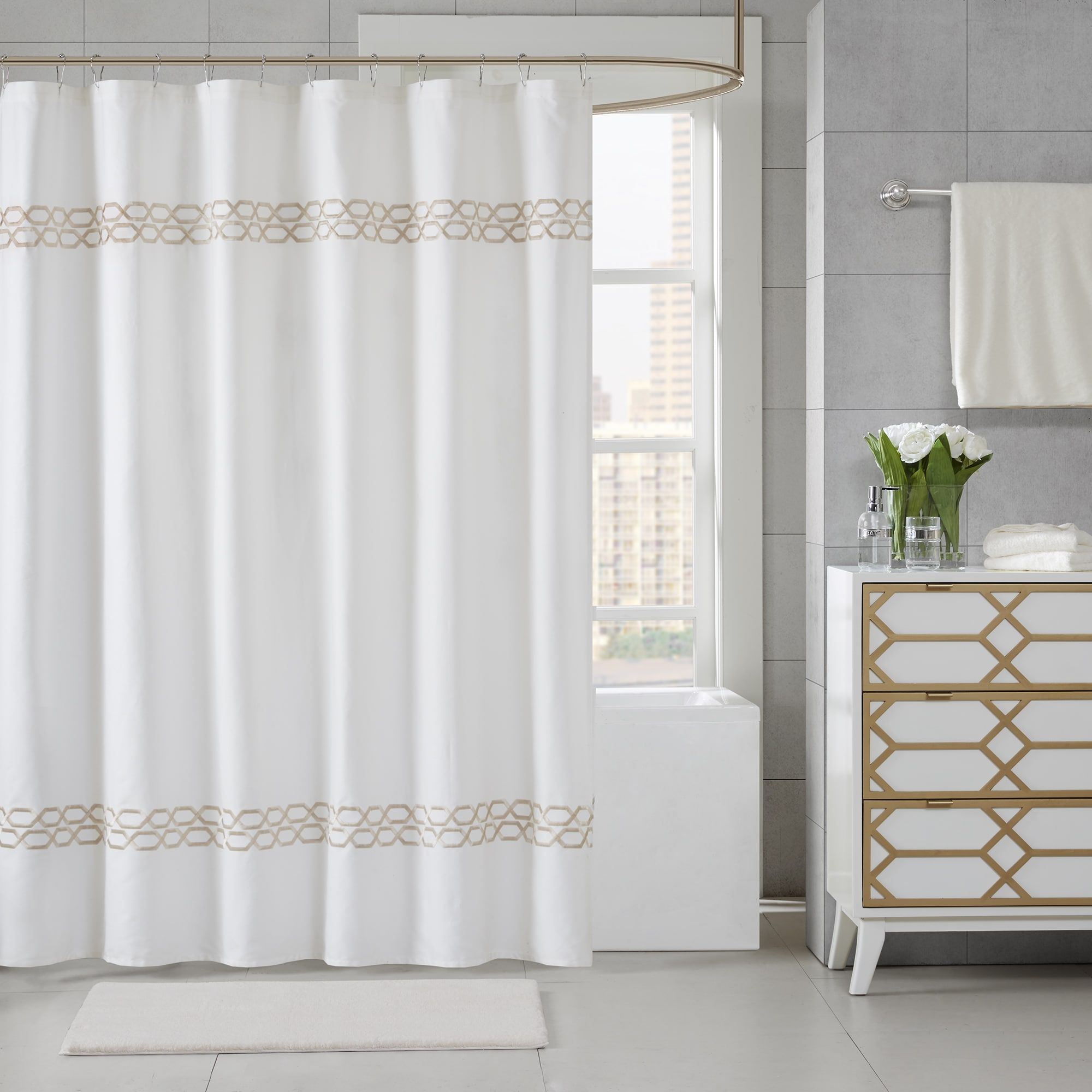 Clay alder home niantic embroidered shower curtain color option