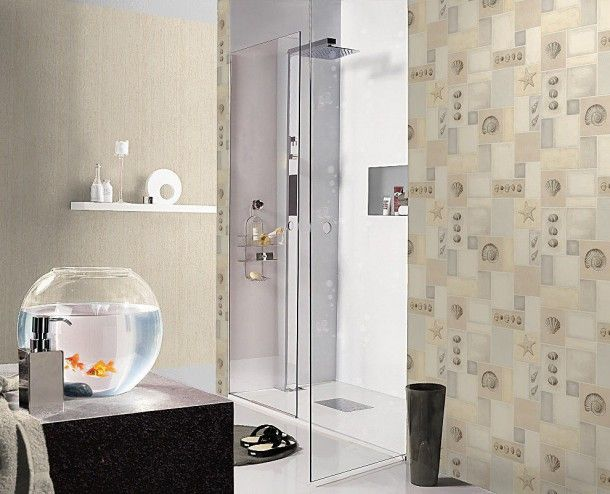 Wandgestaltung Badezimmer ~ Besten badezimmer tapeten wandgestaltung bilder auf