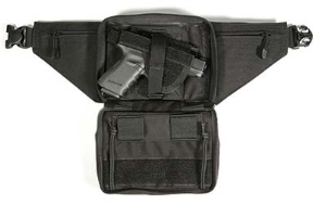 This is an excellent conceal carry fanny pack from Blackhawk. Easy access, room on the inside for Velcro mag pouch inserts. Comes in three sizes for small, medium, and large guns.