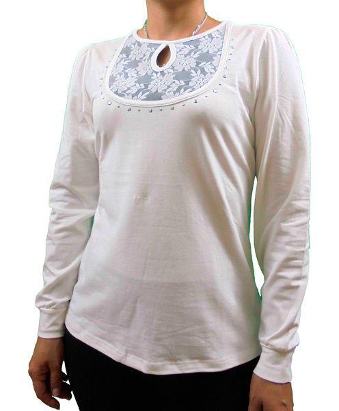 Camiseta encaje escote BLANCO ROTO