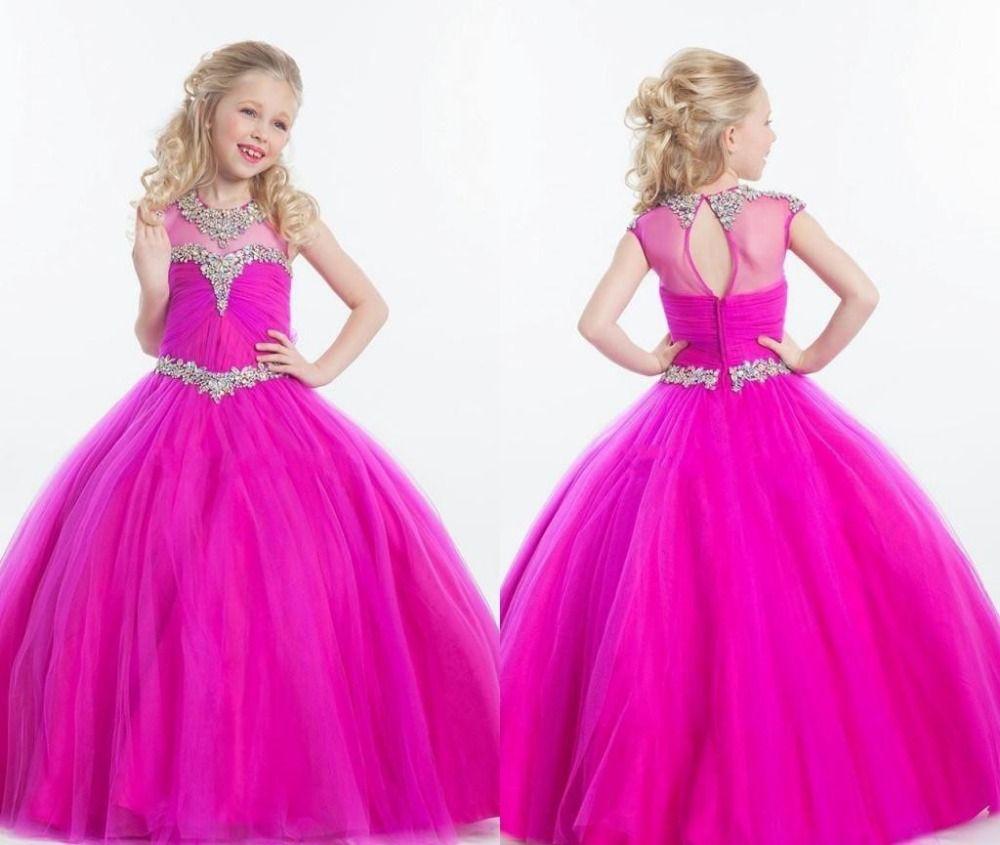 Neue Perlen Kristall Kids Formal Pageant Kleider Für Kleine Mädchen ...