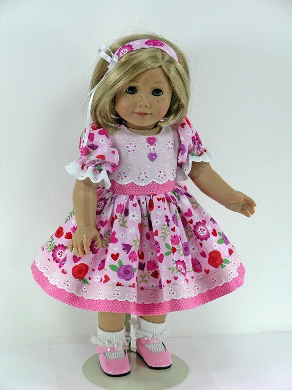 18 inch Clothes Handmade for American Girl Doll - Dress, Headband, Bloomers - Eyelet, Pink Hearts, F #americandolls