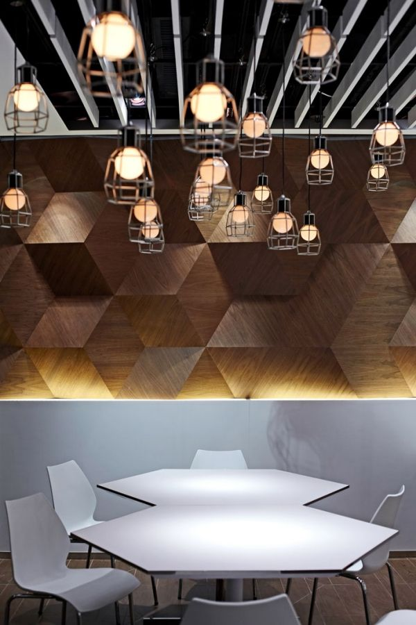 restaurant interior design inspired hexagon, wall treatment